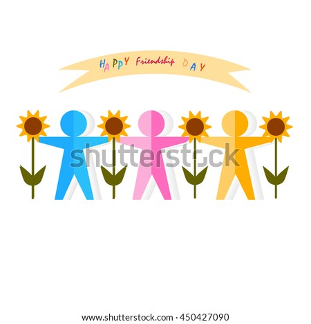 Abstract multicolor paper people silhouette. Vector logo friendship design template. Concept partnership, teamwork, creativity, friendship, business cooperation, sport team. Friendship paper team. - stock vector