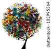 abstract multicolor tree, symbol of nature - stock vector