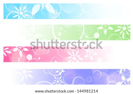 Abstract Multicolored Floral Web Banners Over White