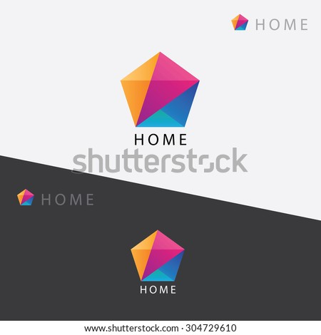 Abstract multicolored geometric polygon logo element mark for business visual identity - stock vector