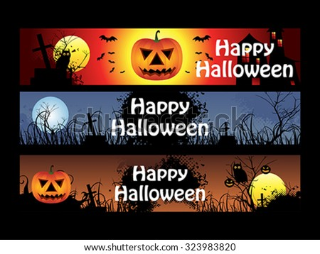 abstract multiple halloween banners vector illustration - stock vector