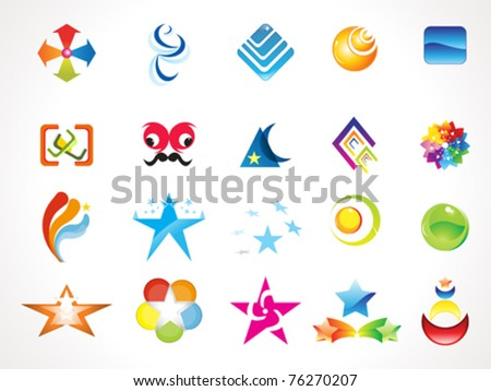 abstract multiple logo icons template vector illustration - stock vector
