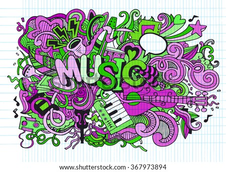 Abstract Music Background ,Collage with musical instruments.Hand drawing Doodle,vector illustration.