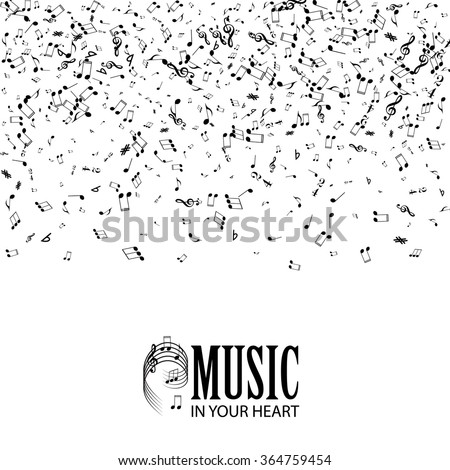 Abstract Music Background. Falling Notes. Vector illustration - stock vector