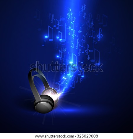 Abstract music background headphones and glowing waves, musical notes. - stock vector