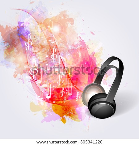 Abstract music background headphones and musical notes. - stock vector
