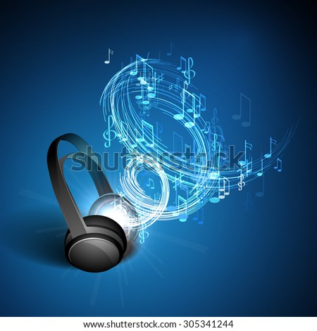 Abstract music background headphones and musical notes on blue background. - stock vector