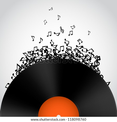 Abstract music background. Vinyl disk - stock vector