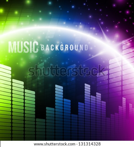 Abstract music background with bright light - stock vector