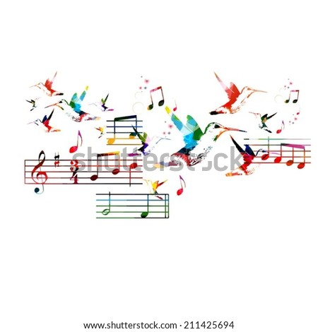 Abstract music background with hummingbirds - stock vector
