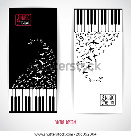 Abstract music background with keyboard, various music notes and flying birds, vector illustration, flyer set design  - stock vector