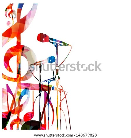 Abstract music background with microphones - stock vector