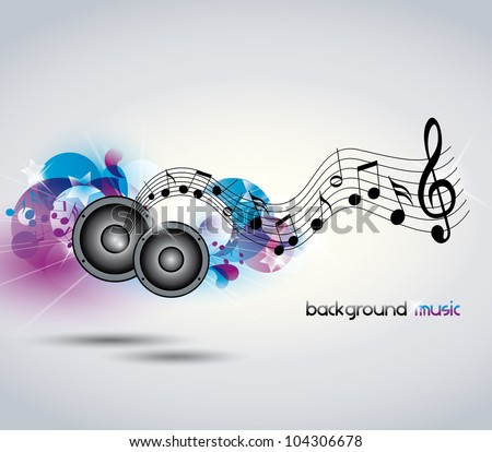 Abstract music background with music and speakers - stock vector