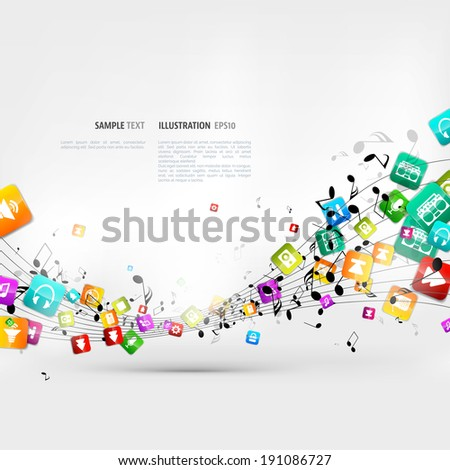 Abstract music background with notes and app icons