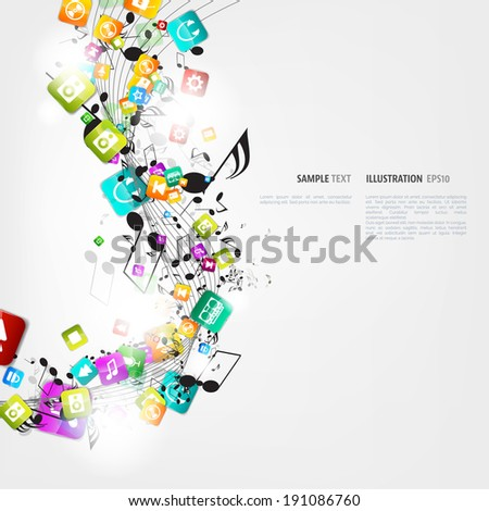 Abstract music background with notes and app icons - stock vector
