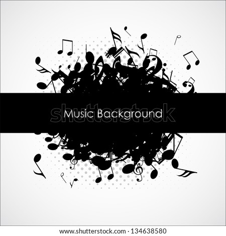 Abstract music background with notes, vector illustration - stock vector