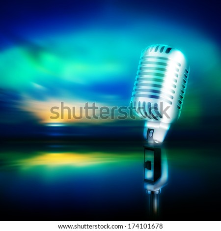 abstract music background with retro microphone on blue