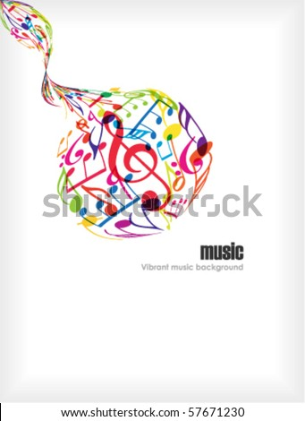 Abstract music ball with tunes on white - stock vector