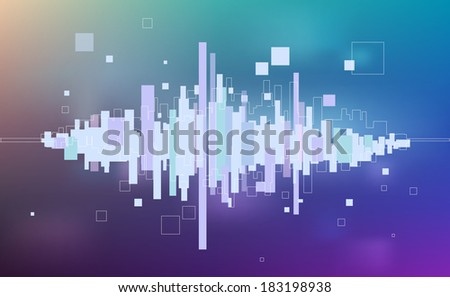 Abstract music equalizer - light background - stock vector