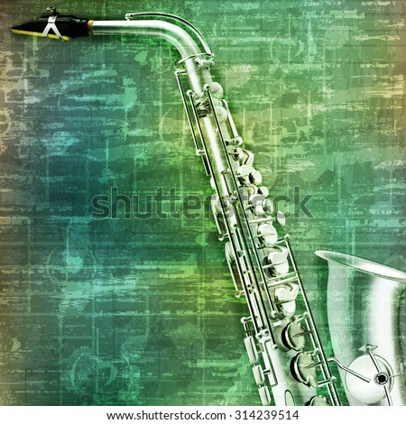 abstract music grunge vintage background saxophone vector illustration - stock vector