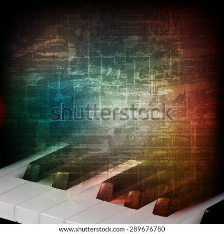 abstract music grunge vintage background with piano keys - stock vector