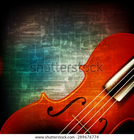 abstract music grunge vintage background with violin - stock vector