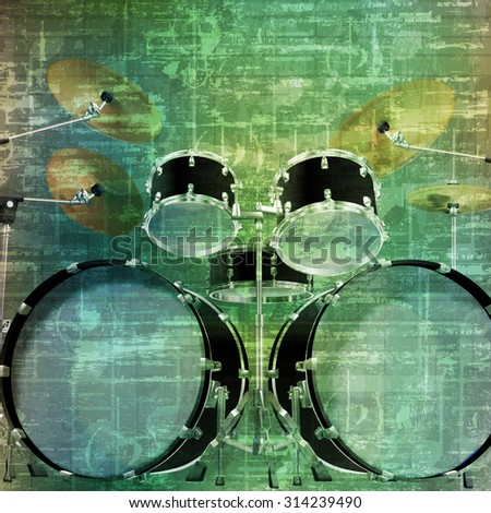 abstract music grunge vintage sound background drum kit vector illustration - stock vector