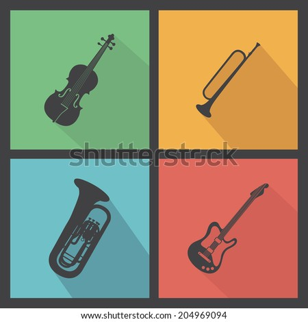 abstract music instrument silhouettes on a special background - stock vector