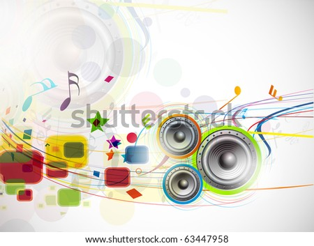 abstract music loudspeakers background, used of music project.