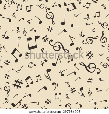 Abstract music notes seamless pattern background vector illustration for your design. - stock vector