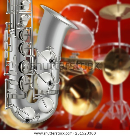 abstract music red background with saxophone and musical instruments - stock vector