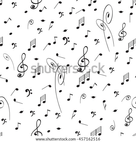 Abstract music seamless pattern background black stock vector abstract music seamless pattern background with black notes and treble clef cute music elements on voltagebd Images
