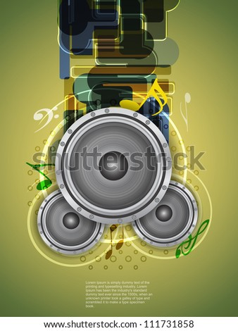 abstract music theme background with loudspeakers. - stock vector