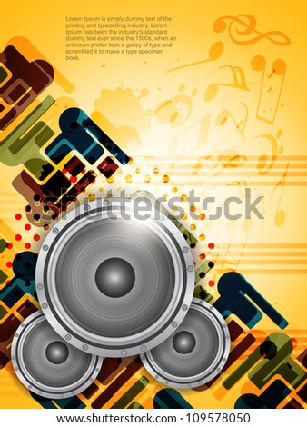 abstract music theme background with loudspeakers, Vector Illustration - stock vector