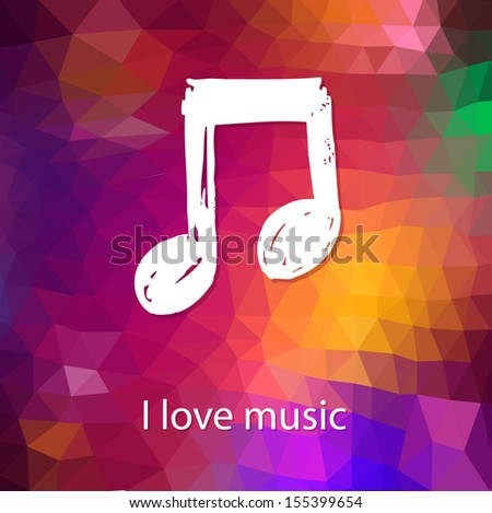 Abstract music vector background with brushstroke note - stock vector