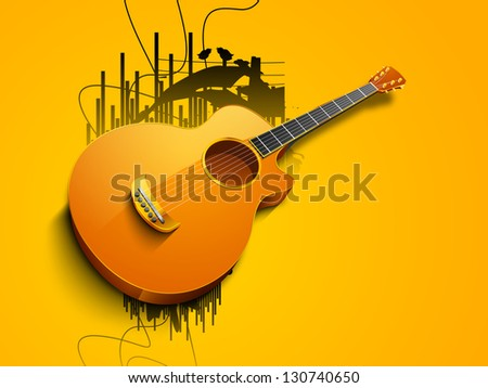 Abstract musical background with guitar. - stock vector
