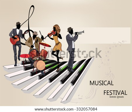 Abstract musical background with musicians, treble clef, notes. Guitar, trumpet, violin. - stock vector