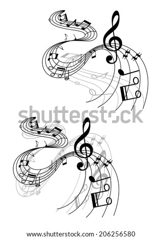 Abstract musical designs with music waves and notes for art background design - stock vector