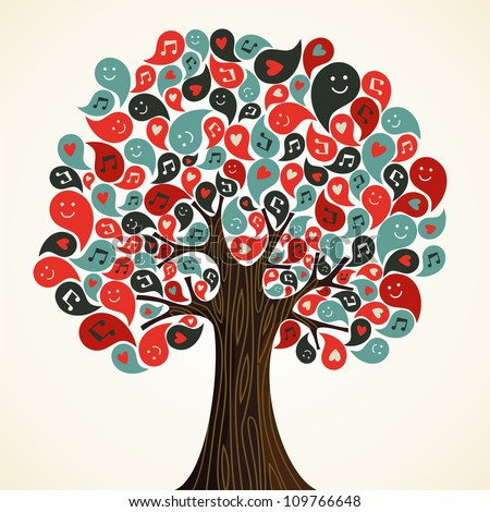 Abstract musical floral tree with icons. Vector illustration layered for easy manipulation and custom coloring.