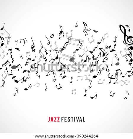 Abstract musical frame and border with black notes on white background. Vector Illustration for music design. Modern pop  concept art melody banner. Sound key decoration with music symbol sign. - stock vector