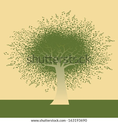 Abstract Musical Note Tree illustration for Web or Print  - stock vector