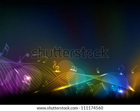 Abstract musical notes colorful wave background. EPS 10. - stock vector