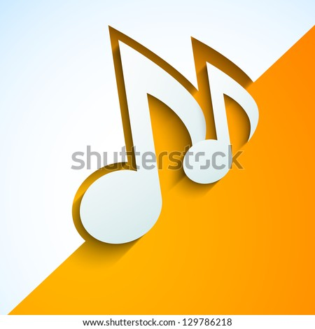 Abstract musical notes on yellow and white background. - stock vector