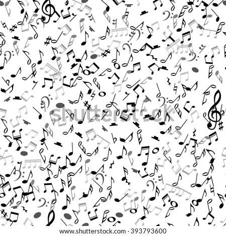 Abstract musical seamless pattern with black notes on white background. Vector Illustration for music design. Modern pop  concept art melody banner. Sound key decoration with music symbol sign. - stock vector