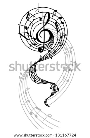 Abstract musical swirl with notes and sounds for art design. Jpeg (bitmap) version also available in gallery - stock vector
