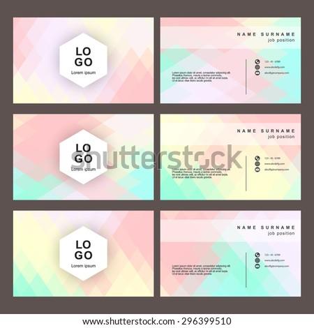 abstract name card polygon style vector set - stock vector