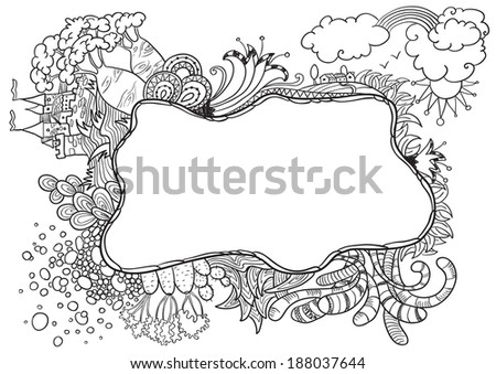 Abstract natural doodle frame - stock vector