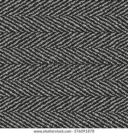 Abstract natural noisy thread strokes herringbone seamless pattern. - stock vector
