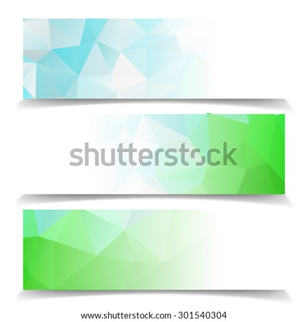 Abstract Natural Triangular Polygonal vector banners set