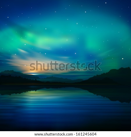 abstract nature background with aurora borealis and  mountains - stock vector